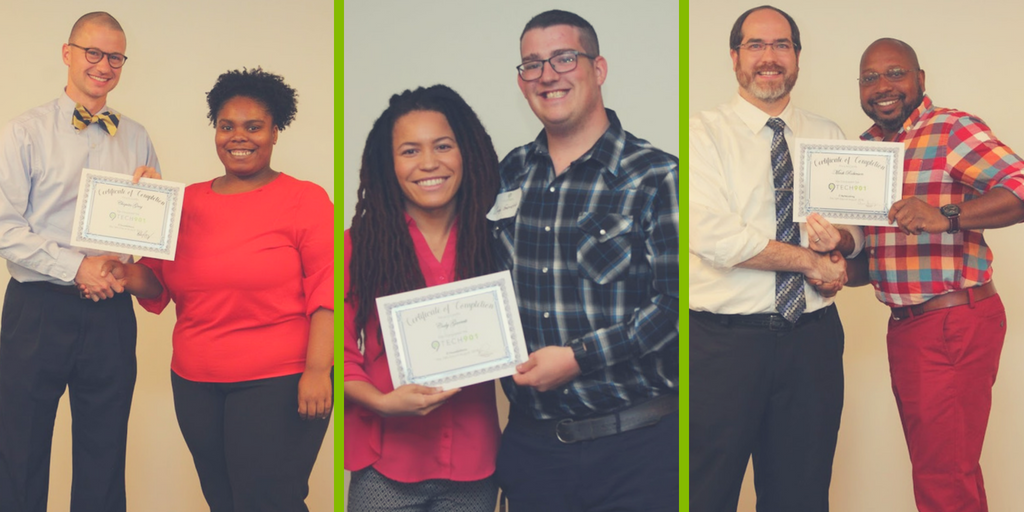 August 2018 Grads receiving their certificates of completion