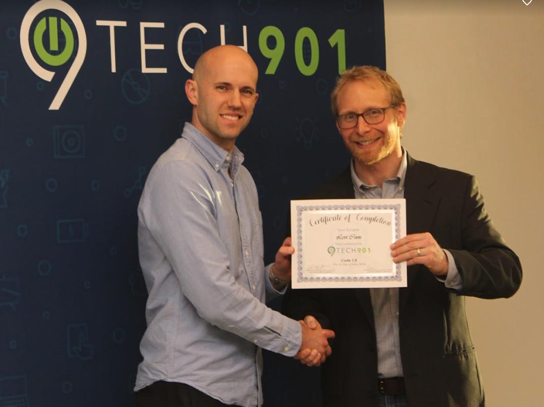 Levi and Code Instructor, Brad Montgomery